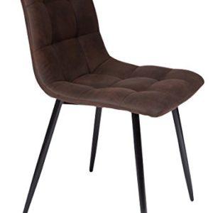 SAM Esszimmerstuhl ULF, Stoffbezug braun, Schwarze Metallfüße, Schalenstuhl im skandinavischen Stil, quadratische Absteppungen