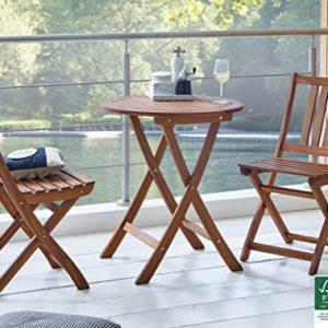 SAM Garten- Balkongruppe, 3tlg, Akazienholz geölt, 100% FSC®-Zertifiziert, 1x Tisch + 2X Stuhl, Sitzgruppe klappbar