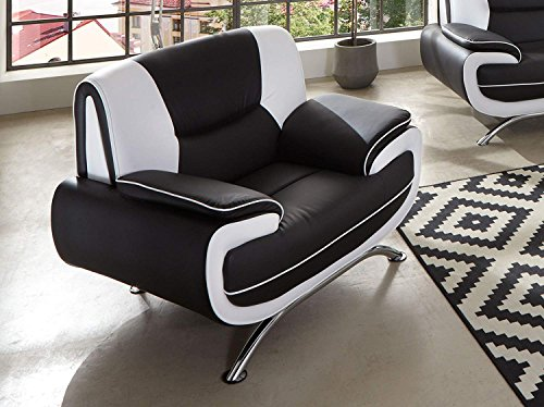 sam sessel passero schwarz wei couch aus kunstleder modernes design m bel accessoires und. Black Bedroom Furniture Sets. Home Design Ideas