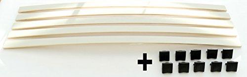 SET: Federholzleisten (8x35mm) + Befestigungs Kappen zur Selbstmontage für Futon, Bett oder Caravan | Stärke/Höhe 8mm x Breite 35mm