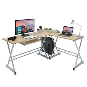 Slypnos Eckschreibtisch L-förmig, Computerecktisch Groß Gaming Schreibtisch PC Bürotisch mit Easy-Glide Tastaturauszug und freistehende CPU-Ständer, für Arbeitzzimmer und Büro, schwarz