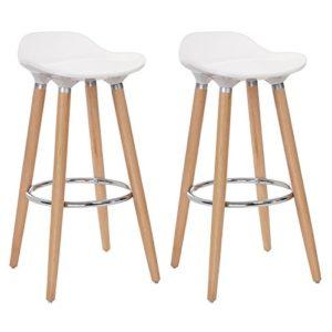 SONGMICS 2er-Set Barhocker Sitzhöhe 73 cm Tresenhocker Beine aus Buche Sitzschale aus Kunststoff Weiß LJB20W