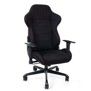 Songmics Gaming Stuhl mit Armlehnen, Polyestergewebe, schwarz, 70 x 75 x 111 – 119 cm