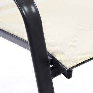 SONLEX 2er Set Gartenstuhl Stapelstuhl Stapelsessel Hochlehner Terrassenstuhl – Textilene Stahlgestell – Pflegeleicht Robust stapelbar – Farbe: Rahmen Schwarz/Bespannung Creme