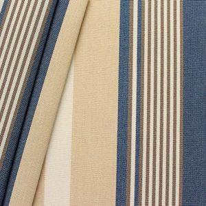 STOFFKONTOR Markisenstoff Outdoorstoff Streifen Breite 160cm Meterware Blau-Beige-Weiss
