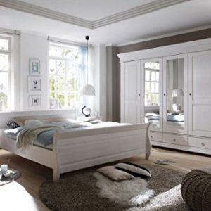 Schlafzimmer Landhaussstil Kiefer weiß gewachst 4-tlg. 180×200