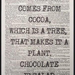 Schokolade Zitat Vintage Wörterbuch Kunstdruck Bild Kuchen Cafe Küche Funny