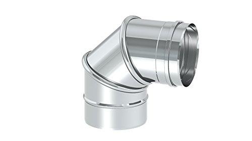 Schornstein – Winkelelement EW einwandig drehbar mit Winkel 0 – 45°; 0 – 90° oder Reinigungswinkel drehbar 0 – 90°, Innendurchmesser zwischen Ø 80mm und 600mm; 0,6mm Wandstärke, Edelstahl