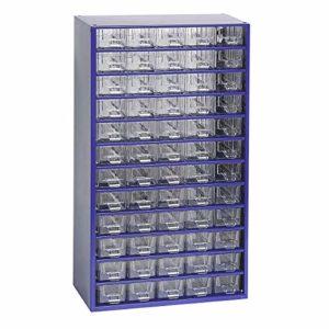 Certeo Schubladenmagazin aus Stahl | HxBxT – 551 x 306 x 155 mm | 60 transparente Schubladen| Gehäuse ultramarinblau| Kleinteilemagazin Klarsichtmagazin