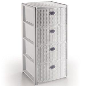 Siehe Beschreibung Schubladenschrank mit 4 Schubladen in Rattanoptik weiß • Schrank Schubladenkommode Rattan Möbel Aufbewahrung Kunststoff
