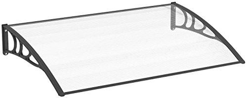 Schulte Vordach Überdachung Haustürvordach 120x80cm Polycarbonat-Hohlkammerplatte klar Kunststoff schwarz Pultbogenvordach