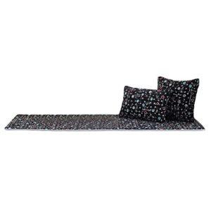 Blancho [Schwarze Punkte] Korallen Samt Tatami Matte Fenster Tisch Matte, Keine Kissen, 19.7×59 Zoll