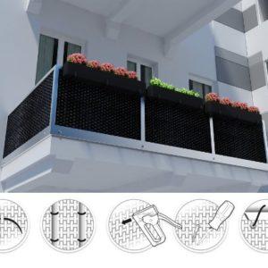 (17,99€/m2)Balkonverkleidung Sichtschutz Meterware Balkonsichtschutz Polyrattan Balkonbespannung RD01-hell braun100
