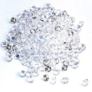 SiDeSo® 1000 Stück 6mm 0,6 cm Diamanten Dekosteine Acryl Tischdeko Hochzeit (klar)