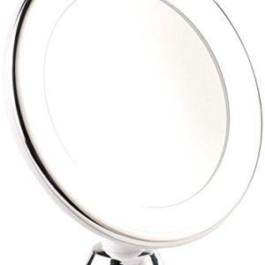 Sichler Beauty Vergrößerungsspiegel: Rasier- & Kosmetikspiegel, Ø 17,5 cm, 5-Fach, 25 LEDs, 360°-Saugnapf (Kosmetikspiegel beleuchtet)
