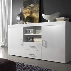 Sideboard Kommode Mambo 164 cm 2 Türen 2 Schubladen Körper Weiß Matte / Front Weiß Hochglanz