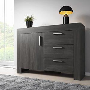 Sideboard Rom 1Tür 3Schubladen 120cm schwarz Holz Effekt
