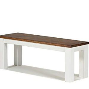 Naturholzmöbel Seidel Sitzbank 120x38cm Rio Landhaus Farbton: Weiss/Kolonial Zimt Bank Massivholz Pinie Sitzfläche…