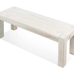 Naturholzmöbel Seidel Sitzbank Weiss Shabby Chic Rio Bonito 120x38cm, Massivholz Pinie Landhaus, Holz Bank Vintage Used Look, Optional: Passende Tische und Stühle