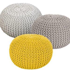 Sitzhocker Pouf Hocker Set 3 Stück Grobstrick-Optik Ø 55 cm Farbe Natur & beige & gelb