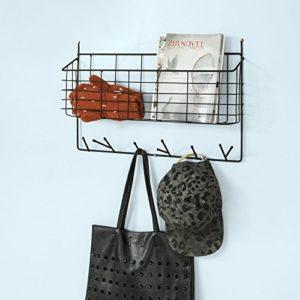 SoBuy® FHK09-SCH Wandregal Briefablage Aufbewahrungskorb Küchenregal mit 6 Haken, schwarz, BHT ca: 56x35x9cm