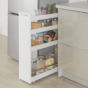 SoBuy® NSR01-W Nischenregal mit 4 Etagen Küchenregal mit Rollen Badrollwagen Ordnungswagen Rollwagen weiß BHT ca.:18x82x60cm