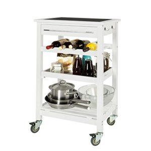 SoBuy Servierwagen, Küchenwagen aus hochwertigem Bambus mit Tischplatt aus Glas FKW16