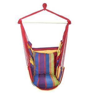 Sorbus Hängesessel mit Seil zum Aufhängen, für jeden Innen- oder Außenverwendung, Max. 120kg Traglast, inkl. 2Sitzkissen