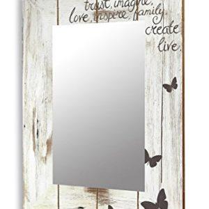 levandeo Spiegel 50x70cm Wandspiegel Flurspiegel aus Holz weiß Vintage Shabby chic gewischt – Motiv Schriftzug Love mit Schmetterlingen Landhaus Stil