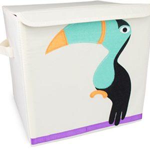 """Spielzeugkiste """"Tukan"""" mit Deckel – Beige ca. 35 x 33 x 33 cm – Toy Box Spielzeug Lagerung & Transport – Grinscard"""