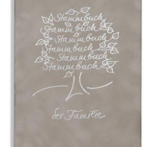 Stammbuch der Familie Hochzeit Sanri grau Velours silber Stammbaum Ringmechanik
