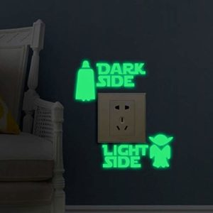Star Wars Light Side Dark Side Light Switch Vinyl Decal Sticker Child Room Lightswitch Wall Art Vader Yoda, 3 Pack