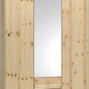 Steens Axel Kleiderschrank, 4 Türen, 4 Schubladen, 193 x 200 x 61 cm (B/H/T), teilmassiv, natur lackiert