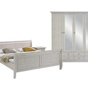 Steens Monaco Schlafzimmer, Kiefer massiv, 4-Teiliges Set, Bett, Kleiderschrank und Nachtkommode, Liegefläche 180 x 200 cm, Kiefer massiv, weiß