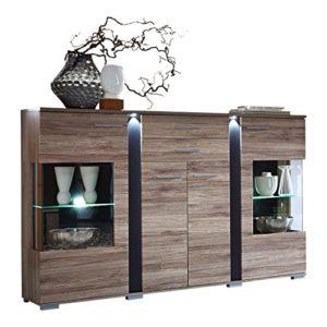 Stella Trading Spot Kommode, Highboard, inkl. LED-Beleuchtung, Holz, braun, (B/H/T) 170 x 126 x 43 cm