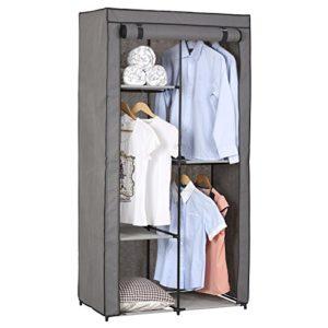Stoffkleiderschrank Kellerschrank Faltkleiderschrank ADAM, mit 3 Kleiderstangen und 2 Regalfächern, mit Schutzhülle in grau – 5 Verschiedene Aufbauvarianten
