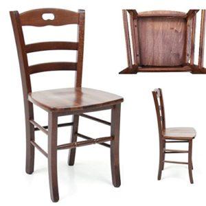 Stuhl aus Massivholz Sitz aus Massivholz Restaurant Haus bereits montiert Holz Nussbaum dunkel Typ Set mit Fußstütze Rund
