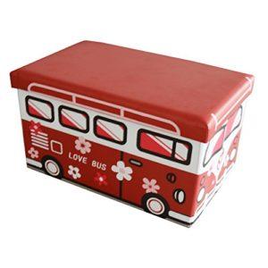 Style home Faltbarer Sitzhocker Aufbewahrungsbox für Kinder Kunstlederbezug – Love Bus – 50 x 30 x 30 cm – 165030H