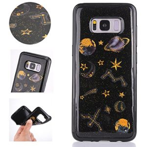 Sycode Glitzer Hülle für Galaxy S8 Plus,Handyhülle Silikon für Galaxy S8 Plus,Kreativ Stern Planet Muster Glänzend Hülle für Samsung Galaxy S8 Plus-Schwarz
