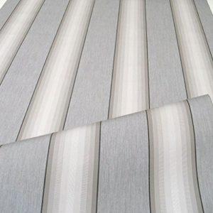 TOLKO Sonnenschutz Markisen-Stoffe als Meterware zum Nähen mit UV-Schutz 50+ | Wasserdicht, Extra Langlebig – ohne Ausbleichen (Grau-Zinn-Gestreift)