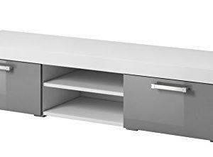 E-Com TV-Schrankständer Mambo Korpus weiß matt/Fronten grau Hochglanz 140cm