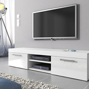 E-Com TV-Element TV Schrank Ständer Mambo weiß matt/weiß Hochglanz 160cm