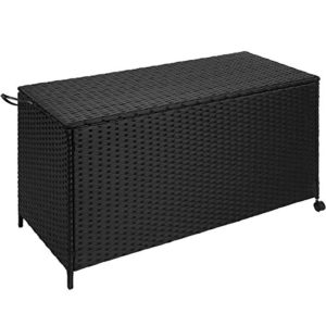 TecTake Rattan Auflagenbox Garten Kissenbox rollbar | wetterfestes Aluminiumgestell | mit Gasdruckstoßdämpfer | 117×54,5x65cm | schwarz