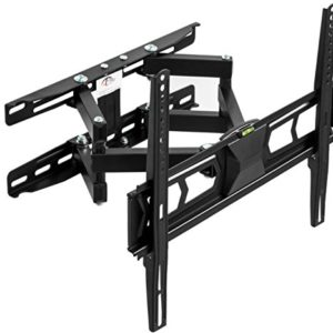 TecTake 401801 TV Wandhalterung, neigbar schwenkbar, VESA 150×150 bis 400×400, für 82-140cm (32 – 55″), bis 60kg, schwarz