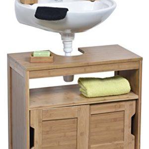 Unterschrank für Waschbecken oder Spüle – 2 Türen + 1 Regal + 1 Fach – exotischer Stil – aus BAMBUS
