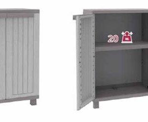 Terry, JWood 68, Schrank mit 2 Türen in Holz-Optik, 1 bewegbarer Einlegeboden, für den Innen- und Außenbereich. Farbe…