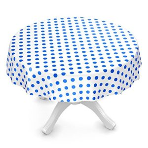 ANRO Wachstuchtischdecke Wachstuch Wachstischdecke Tischdecke Blau Weiß Tupfen Punkte Gepunktet Dots Rund 100cm…
