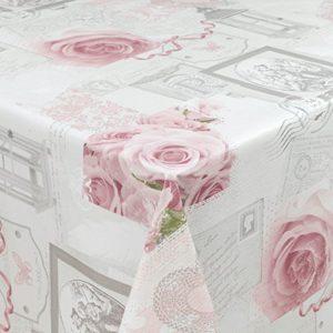 ANRO Wachstuchtischdecke Wachstuch Wachstischdecke Tischdecke abwaschbar Rosen Landhaus Antik Grau Rund 100cm eingefasst