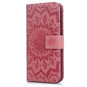 Tophung Huawei P20, stoßfest Premium PU Leder Flip Wallet Case Embossed Sonnenblume mit Ständer ID-Kartenhalter Schutzhülle Folio Magnetverschluss Hülle Schutzhülle für Huawei P20