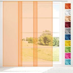Transparenter Flächenvorhang Voile 60×245 cm wahlweise mit und ohne Technik, schlichte und stilvolle Fensterdekoration in vielen verschiedenen Farben erhältlich